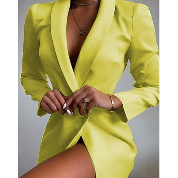 New fashion European and American women's long-sleeved V-neck suit jacket casual dress