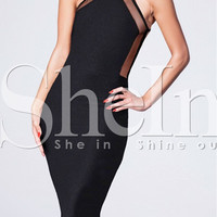 Black Halter Sleeveless Backless Bodycon Midi Dress with Mesh Accent