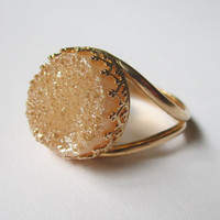 Peach Druzy ring - 14k Gold ring  - Bridal ring- Drusy ring, Champaign stone ring, 10mm stone,  Vintage ring, Cocktail ring, bridesmaid gift