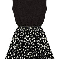 ROMWE Pleated Floral Print Slim Black Dress