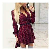 Polka Dot Swallow-tailed Pleated Short Dress   red checks  S