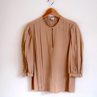 70s taupe blouse - vintage beige tan pleated silk shirt - three quarter sleeves - button up - xs / small