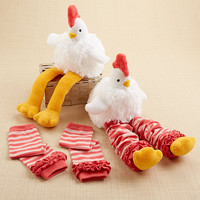 """Baby Aspen """"Chicken Legs"""" Plush Chicken and Leg Warmers for Baby"""