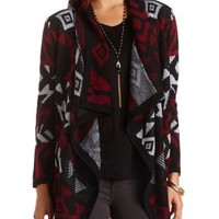 Aztec Cascade Cardigan Sweater by Charlotte Russe - Black Combo