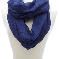 Lightweight Solid Crinkled Infinity Scarf