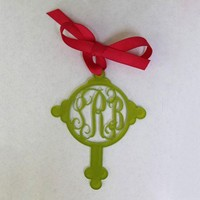 Acrylic Cross Monogram Luggage Tag| Preppy Monogrammed Gifts | Invite Cottage