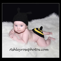 Baby Photo Prop Bumble Bee Hat and Butt Topper by conniemariepfost