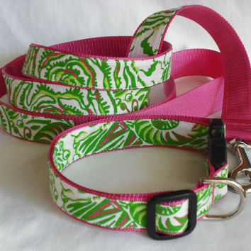Dog Collar and Leash Set Made from Lilly Pulitzer Sorority Fabric Kappa Delta Size: Large