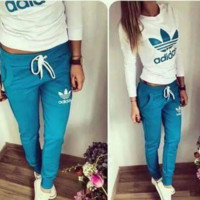 "Women Fashion ""ADIDAS"" Print Hoodie Top Sweater Pants Sweatpants Set Two-Piece Sportswear SKY BLUE"