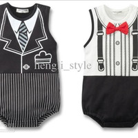 Baby Tie Print One-piece Rompers/Kids' Jumpsuits New Summer Children Tie Printing Gentlemen Style Rompers Baby Clothes White Black 6pcs/lot