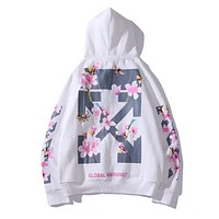 Off White Autumn And Winter New Fashion Arrow Letter Floral Print Women Men Leisure Hooded Long Sleeve Sweater White