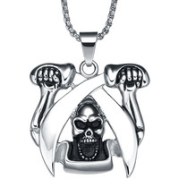 Stainless Steel Double Sword Fighter Pendant Necklace