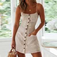 Casual Solid Women Dress Spaghetti Strap Elastic Backless Cotton Linen Dress Elegant Mini Beach Sundress