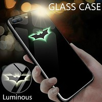 Batman Dark Knight gift Christmas FUNM'OB Luxury Luminous Tempered Glass Case For iphone 8 7 6 6s Plus Phone Cases Marvel DC Comics Batman Cover For iphone X 10 AT_71_6
