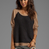 Free People Tabbard Pullover Sweater in Black/Camel Combo from REVOLVEclothing.com