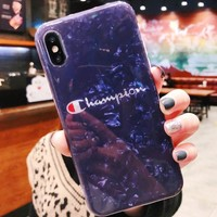 Champion New fashion letter print texture couple protective cover iphone phone case Blue