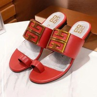 GIVENCHY New Fashion Comfortable Leather Women Sandals Slipper Shoes Red