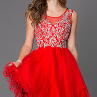 Dresses, Formal, Prom Dresses, Evening Wear: Short Homecoming Dress with Illusion Back