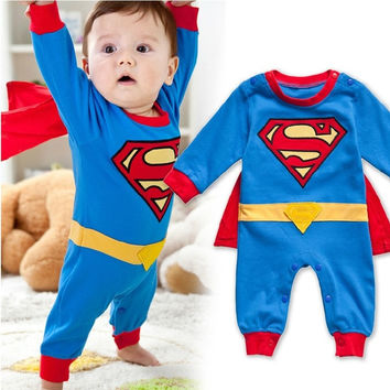 Baby Boy Romper Superman Long Sleeve with Smock Infant Cartoon Halloween Christmas Costume Gift Children Kids Autumn = 1946248004
