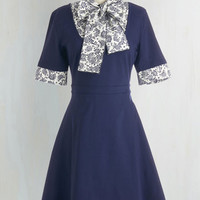 Vintage Inspired, 70s, Scholastic Mid-length Short Sleeves A-line Expert in Your Field Trip Dress in Paisley by ModCloth