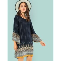 Ornate Bohemian Dress - Navy