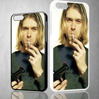Nirvana Kurt Cobain Smoke Z1440 iPhone 4S 5S 5C 6 6Plus, iPod 4 5, LG G2 G3 Nexus 4 5, Sony Z2 Case