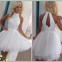 White Prom Dresses Short Tulle Halter Graduation Dresses with Sequins Beadings Backless Homecoming Cocktail Dresses Custom Made