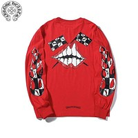 Chrome Hearts 2019 new lip horseshoe print graffiti casual long-sleeved sweater Red