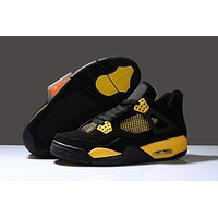 Air Retro 4 Men Basketball Shoes Thunder Black White Tour Yellow Cheap Sneakers