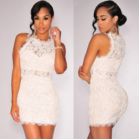 White Lace Sleeveless Bodycon Dress