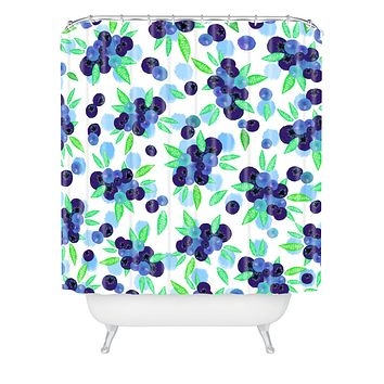 Lisa Argyropoulos Blueberries And Dots On White Shower Curtain