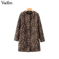 Trendy Vadim vintage leopard print long jacket coat zipper pockets long sleeve coats retro female casual outerwear fashion tops CA180 AT_94_13