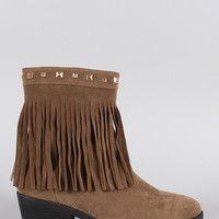 Suede Studded Fringe Cowgirl Ankle Boots