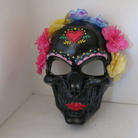 Halloween, Halloween Mask, Black Mask, Flowered Mask, Los Dias De Las Muertas, Day of The Dead
