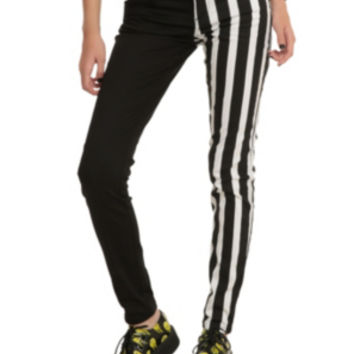 Royal Bones By Tripp Black & White Stripes Split Leg Skinny Jeans