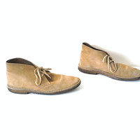 mens DESERT boots vintage 70s 80s tan SUEDE minimalist oxfords ankle CHUKKA boots size 9