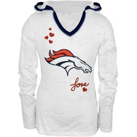 Denver Broncos - Hearts Girls Youth Burnout Soft Hooded Longsleeve - Youth 16/18