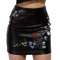 Mira Lace Embroidered Leather Mini Skirt