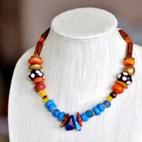 African Necklace, African Chunky Necklace,  OOAK Necklace, OOAK, Tribal Elegance, African Wedding Jewelry, African Jewelry,