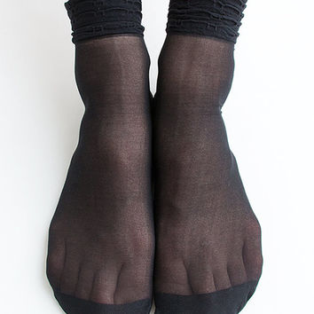 Women New Hezwagarcia Must Have Basic Essential Super Sheer Shirring Cover See Through Casual Black Intimate Ankle Socks Stocking