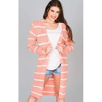 Striped Ribbed Long Cardigan