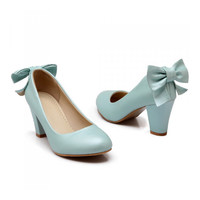 High Heel Low-cut Bowknot Work Shoes Plus Size  blue