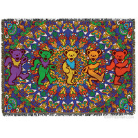 Grateful Dead - Bear Mandala Throw Blanket on Sale for $59.99 at HippieShop.com