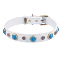 'Imperial' Faceted Turquoise & Cats Eye Gemstone on White Leather Dog Collar