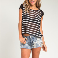 Striped Front and Lace Back Sheer Top in Black & White