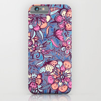 Sweet Spring Floral - soft indigo & candy pastels iPhone & iPod Case by Micklyn