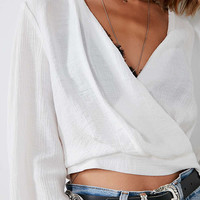 Silence + Noise Deep V-Neck Wrap Top | Urban Outfitters