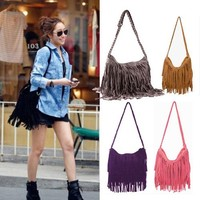 THG Fringe Black Tassel Faux Suede Messenger Cross Body Tote Shoulder Handbags