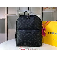 """LV""Louis Vuitton Casual large capacity black printed zipper coated canvas backpack travel bag"