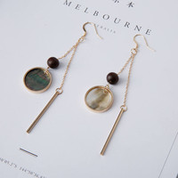 Mire - Gold plated contrast mother of pearl dangle earrings